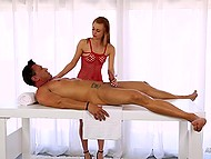 Stunning red-haired masseuse served client skillfully with gentle hands and mouth 3