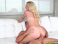 Libidinous girl with beautiful hair got desirable and took part in her first recording of adult movie 9
