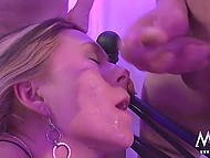 Thanks to dual-ended dildo German girls got excited and started to satisfy a group of men 9