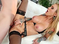 Happy man can add in his achievement list the sexual act with buxom pornstar Sarah Jessie 4