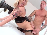 Raunchy Dahlia Sky in lace lingerie touches partner's cock through pants checking if it is ready for diving into pussy 10