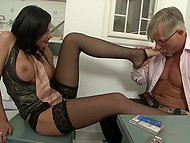 Old man with cigar showed dark-haired girl in fashioned stockings that his penis is capable of hard anal sex 4