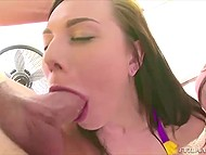 Guy licked delightful damsels' sphincters before they gave him nice blowjob 8
