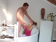 Boy likes privacy so he hammered small-tittied bimbo who was filmin him on phone camera in the bathroom 4