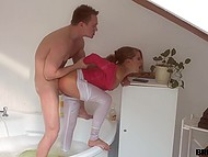 Boy likes privacy so he hammered small-tittied bimbo who was filmin him on phone camera in the bathroom 6