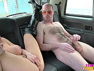 Big-breasted taxi driver brought passenger to secluded place to do some dirty things 9