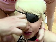 Fragile girl helped with serving cocks but just the busty blonde received sperm mask 10