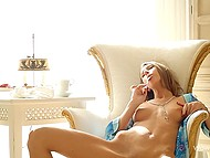 Young enchantress used silver spoon not to stir tea but appease shaved hot spot 10