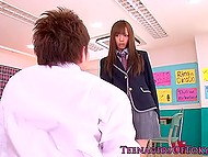 Co-ed was about to leave but Asian persuaded him to stay and fuck her on classroom floor 3