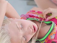 Beautiful sensual sex of teenage blonde and her boyfriend ended with plentiful ejaculation 8