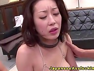 Obedient Japanese cutie still not accustomed to feel boyfriend's dick in her ass 9