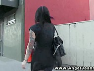 Tattooed Joanna Angel brought cameraguy in the armory club toilet and gave him a BJ 5