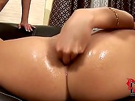 Insatiable blonde stretches her holes and sticks huge dildos inside asshole with help of her sexy assistant 8