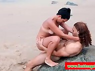 Muscular Tarzan nails each hole of bronzed Portuguese MILF on the beach 7