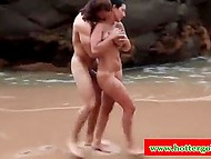 Muscular Tarzan nails each hole of bronzed Portuguese MILF on the beach 8
