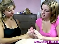 Giving handjob is not that easy and not everyone can do it well so stepmother gives lesson to stepdaughter 10