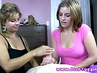Giving handjob is not that easy and not everyone can do it well so stepmother gives lesson to stepdaughter 4