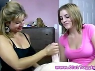 Giving handjob is not that easy and not everyone can do it well so stepmother gives lesson to stepdaughter 5