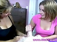 Giving handjob is not that easy and not everyone can do it well so stepmother gives lesson to stepdaughter