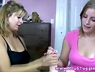 Giving handjob is not that easy and not everyone can do it well so stepmother gives lesson to stepdaughter 9