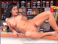 Sports nutrition seller masturbates shaved sissy with fingers during lunch break 4