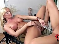 Pretty girls are stimulating by huge double dildo and getting wild orgasm together 9