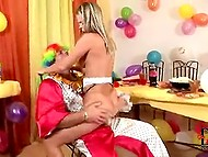 Anal and vaginal pounding with birthday girl made a part of clown's entertainment show 8