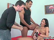 Men tied up babe and stipulated that they would not stop until she would cum 7