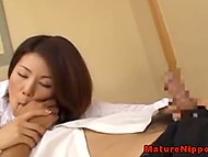 Japanese nympho adores to give pleasure to her man masturbating his penis