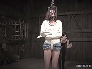 Lady has yet to feel miserable in metal shackles this evening being tortured with mistress' whip 10