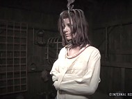 Lady has yet to feel miserable in metal shackles this evening being tortured with mistress' whip