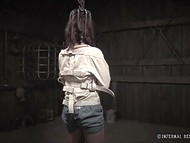 Lady has yet to feel miserable in metal shackles this evening being tortured with mistress' whip 8