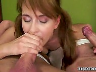 Beauty gets fucked by two lusty males but she lets them do it into her mouth only 8
