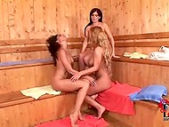 On bachelorette party ladies went to sauna, warmed up and started to fondle themselves 10