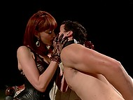 Obedient slave waits for his fiery-red mistress in corset to get fucked in asshole with strapon 4