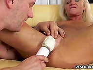 Wind-up granny doesn't mind to get a bit kinky with her young lover tonight 5