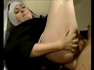 Luscious nun from Italy violated the vows and let man push penis in both holes