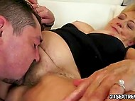 Granny loves bearded men and this one was invited to drink tea but after suddenly fucked 3