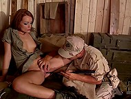 Two soldiers fuck good-looking babe in warehouse with guns and pour her body with semen 4