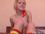 Smooth pussy of golden-haired sexpot felt excited because of gentle fingering 5