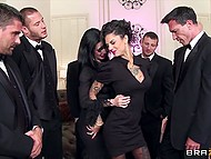 Gentlemen gathered at party and two dark-haired chicks tried to not let them feel bored 4
