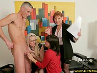 Young female workers need to service hard wiener daily to cope with stress in the office 10