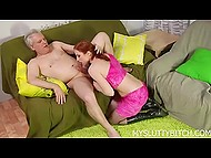 Naughty redhead in fishnet stockings brought older man unforgettable pleasure with a tongue 6