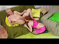 Naughty redhead in fishnet stockings brought older man unforgettable pleasure with a tongue 7