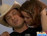 Innocent babysitter had to suck bad cowboy's dick to pay back her boss's debt 7