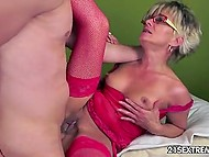 Old lady in red fishnet stockings remembered taste of cum thanks to young mate 4