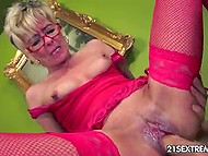 Old lady in red fishnet stockings remembered taste of cum thanks to young mate 8