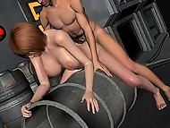 3D animation with big-boobied hottie getting fucked by bald partner in bunker 11