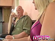 Blonde-haired girl with bulky bosoms uses mouth to reach a compromise with hairless man 7