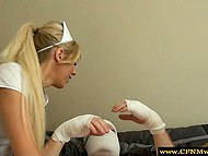 Scorching nurses needed cum of bandaged patient and they used mouths and hands to obtain it 5